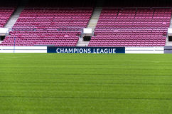 Champions League banner. A Champions League banner at Camp Nou stadium, the official stadium of FC Barcelona football team royalty free stock photo
