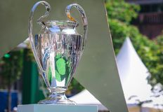 Champions League Cup. KYIV, UKRAINE – 24 MAY, 2018: Champions League Cup during final match of the UEFA Women`s Champions League VfL Wolfsburg - Lyon at stock photo