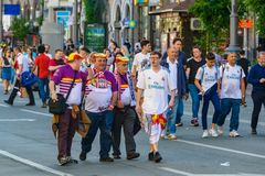 Champions League final 2018 in Kiev. Kiev, Ukraine - May 26, 2018: Real Madrid football fans rest before the Champions League final 2018 in Kiev royalty free stock photo