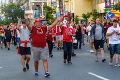 Champions League final 2018 in Kyiv. Kiev, Ukraine - May 26, 2018: Football fans before the start of the Champions League final 2018 in Kyiv royalty free stock photo