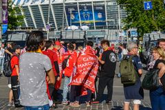 Champions League final 2018 in Kyiv. Kiev, Ukraine - May 26, 2018: Football fans before the start of the Champions League final 2018 in Kyiv royalty free stock photos