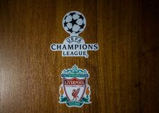 Champions League final 2018. May 20, 2018 Ukraine, Kiev. Emblems of the finalists of the UEFA Champions League season 2017/2018 English Liverpool Royalty Free Stock Photo