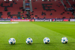 Champions League football balls in the field before the match of Stock Images
