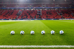 Champions League football balls in the field before the match of Royalty Free Stock Photo