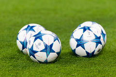 Champions League football balls in the field before the match of Stock Photo