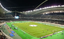 Champions League game. Between Panathinaikos-Greece and Anorthosis - Cyprus at Olympic stadium in Athens Greece stock image