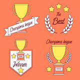 Champions league logotype set. Trophy, laurel leaves and stars stock illustration