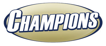 Champions Logo. A logo for champions on gold and blue Stock Image