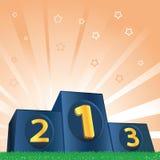 Champions Podium. Winners podium on green grass and shiny background Stock Image