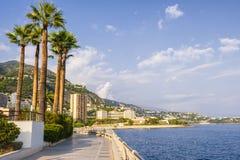 Champions Promenade in Monaco. View of seaside Champions Promenade and Mediterranean coast in Monaco stock photo