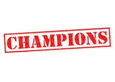 CHAMPIONS. Red Rubber Stamp over a white background royalty free stock photo