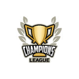 Champions sports league logo gold Royalty Free Stock Images