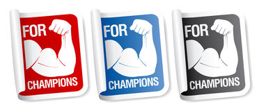For champions stickers. Stock Photos