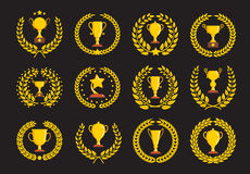Champions trophy icons. Vector illustration Stock Photo