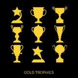 Champions trophy icons. Vector illustration. Royalty Free Stock Images