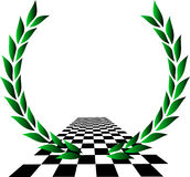 Championship. Laurel wreath over checkered flag Stock Image