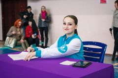 Championship of the city of Kamenskoye in cheerleading, Judges fill out the competition records, and count the points in the score royalty free stock photos