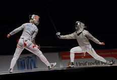 Championship of Europe on fencing. Resembled in Kiev, in Ukraine from 5-10.08.08. Finale. Duel of Poland and Ukrаne Stock Image