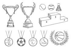 Championship items set Royalty Free Stock Image