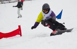 Championship of Kiev region on a snowboard. VYSHGOROD, UKRAINE -FEBRUARY 10: The championship of Kiev region on a snowboard � World snow day � on February 10 Stock Photography