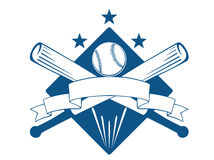 Championship or league baseball. Emblem with a blank wavy ribbon banner with copyspace over crossed bats and a ball superimposed on a diamond with stars, blue Stock Photos