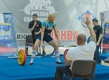 Championship of Russia on powerlifting in Moscow. Stock Photo