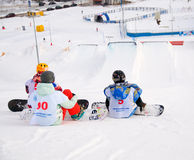The championship of Russia on a snowboard Stock Photos