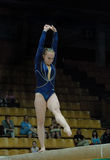 Championship on sporting gymnastics. Sportswoman from Ukraine Kislaya Angelina executes exercise on chemioate of Europe on sporting gymnastics Stella Zakharova Stock Images