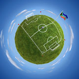 Championship Stadium. Round soccer stadium with South African flag at the mast Royalty Free Stock Images