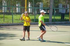 Championship tennis among Juniors Royalty Free Stock Photos