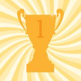 Championship winner trophy cup for first place. Vector illustration Royalty Free Stock Photo