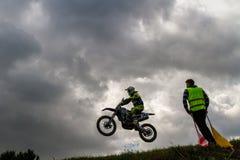 Championship of Zakarpatie region on motocross 2018 in Uzhgorod, Ukraine stock photo