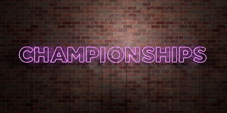 CHAMPIONSHIPS - fluorescent Neon tube Sign on brickwork - Front view - 3D rendered royalty free stock picture Stock Photo