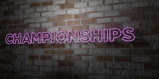 CHAMPIONSHIPS - Glowing Neon Sign on stonework wall - 3D rendered royalty free stock illustration Stock Photos