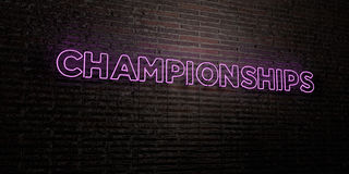 CHAMPIONSHIPS -Realistic Neon Sign on Brick Wall background - 3D rendered royalty free stock image Stock Photo
