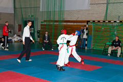 Championships Taekwon-do. Provincial Championships Taekwon-do of juniors and younger juniors with the participation of the spectators in Gdansk, Poland Stock Photo