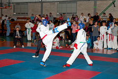 Championships Taekwon-do. Provincial Championships Taekwon-do of juniors and younger juniors with the participation of the spectators in Gdansk, Poland Royalty Free Stock Photo