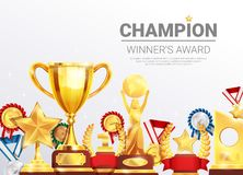 Championships Winners Awards Collection Poster Stock Image
