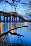 Champlain Brücke vor Sonnenuntergang Lizenzfreie Stockfotos