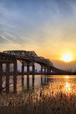 Champlain bridge and a sunset Stock Image