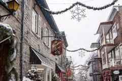 Champlain pequeno la ciudad de Quebec Imagenes de archivo