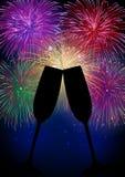 Champán de los fuegos artificiales de la Feliz Año Nuevo Fotografía de archivo