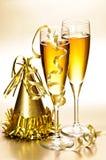 Champán y Años Nuevos de decoraciones del partido Foto de archivo libre de regalías