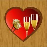 Champán y rosas de madera del corazón de la tarjeta del día de San Valentín Imagen de archivo libre de regalías