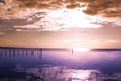 Champoton. Sunset on quiet sea in Champoton, Campeche, Mexico Royalty Free Stock Image