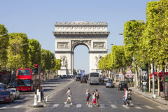 The Champs-Élysées and the Arc de Triomphe. On September 09, 2012 in Paris, France. The most famous avenue of Paris has 1910m and is full of stores, cafés Stock Photo