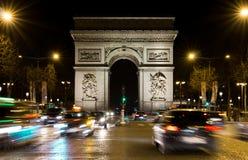 Champs-Élysées and  Arc de triomphe Stock Photos