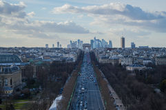 Champs-Élysées, Arc de Triomphe and the Parisian Skyline. Champs-Élysées, Arc de Triomphe and the Skyline of Paris As Seen from the Ferris Wheel Royalty Free Stock Photography