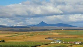 Champs agricoles, rivière de méandre et haute montagne foncée à l'arrière-plan, paysage islandais banque de vidéos