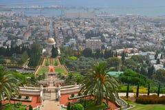 Champs de Baha'i de jardin d'agrément de jardin de Rnamental et d'or en terrasse Images stock